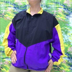 ❣️ vintage sports windbreaker fleece lined jacket